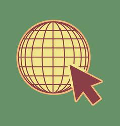earth globe with cursor cordovan icon and vector image