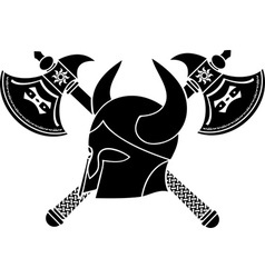 Fantasy helmet with axes stencil firts variant vector