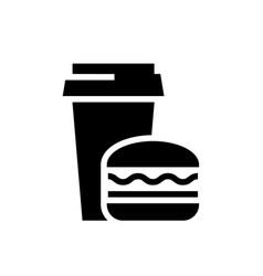 fast food black icon on white background vector image