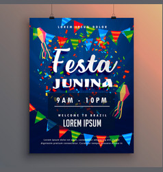 festa junina party flyer poster with confetti and vector image