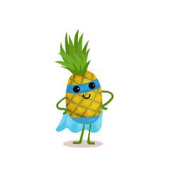 Flat cartoon smiling superhero pineapple standing vector