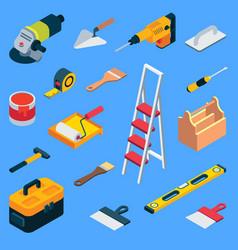flat isometric home repair work tool kit vector image