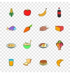 Food icons set pop-art style vector