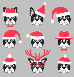 French bulldogs with santa hats vector