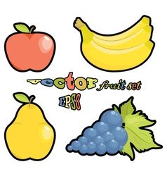 fruit set apple pear grapes bananas on white backg vector image