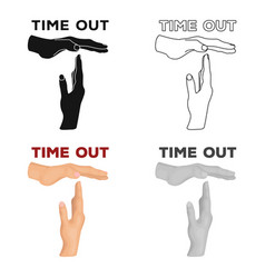 Gesture of a time outbasketball single icon in vector