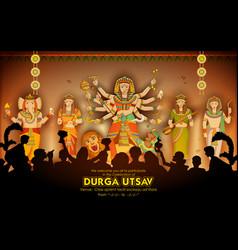 Goddess durga in subho bijoya happy dussehra vector