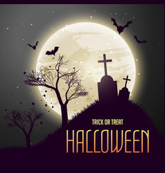 Grave in from of moon scary halloween background vector