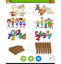 greater less or equal educational puzzle game vector image