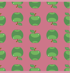 green apple art seamless pattern on pink vector image