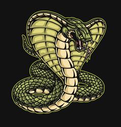 Green king cobra snake template vector