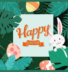happy easter bunny in forest vector image