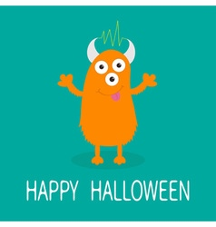 Happy Halloween card Orange monster with eyes vector