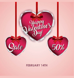 happy valentines day card sale offer discount vector image
