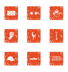 Herculean icons set grunge style vector