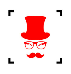 hipster accessories design red icon vector image