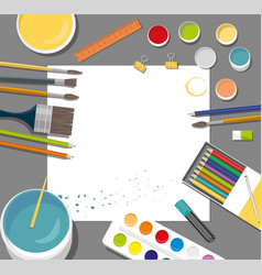 Hobby paints brushes colored pencil pen pains vector