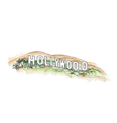 Hollywood sign watercolor hollywood hill vector