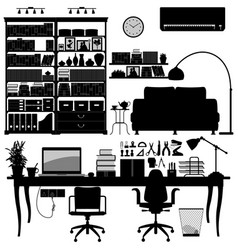 home office library soho a big set of home vector image