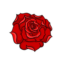 icon of gorgeous bright red rose bud of vector image
