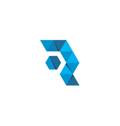 initial letter r logo template with low poly vector image