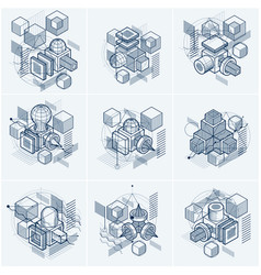 Isometric linear abstract backgrounds lined vector