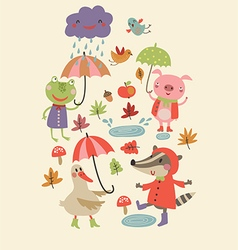 Joyful autumn vector