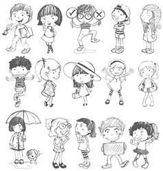 Kids in doodle design vector image