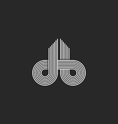 Letters logo DB monogram offset line overlapping vector image