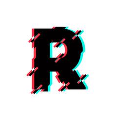 Logo letter r glitch distortion diagonal vector
