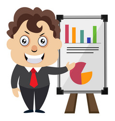 man with table analytics on white background vector image