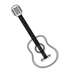monochrome contour with acoustic guitar vector image