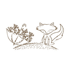 Monochrome hand drawn silhouette of fox in hill vector