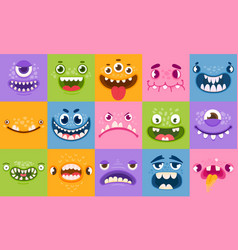 monster faces funny cartoon monsters heads eyes vector image