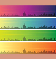 moscow multiple color gradient skyline banner vector image