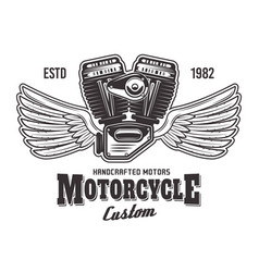 motorcycle engine with wings and sample text vector image