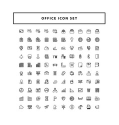 office icons set with outline style design vector image