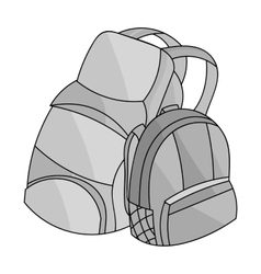 Pair of travel backpacks icon in monochrome style vector