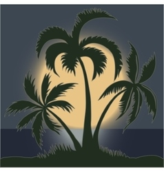 palms in moonlight on beach vector image