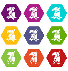 parrot icons set 9 vector image