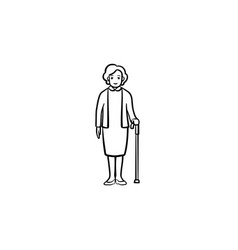 pensioner woman with cane hand drawn outline vector image