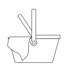 picnic basket icon in monochrome dotted silhouette vector image