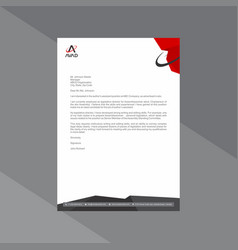 Professional red and grey letterhead with vector