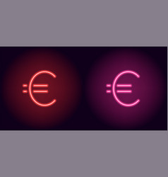 Red and pink neon euro sign vector