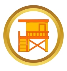 Rescue booth on the beach icon vector