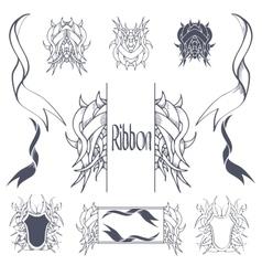 Ribbon banners hand drawn set vector