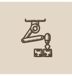 Robotic packaging sketch icon vector