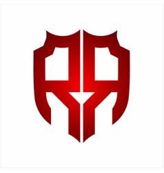 rr logo shield style monogram design template vector image