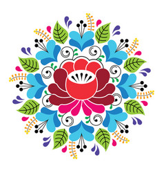 Russian inspired folk art pattern - colorful vector