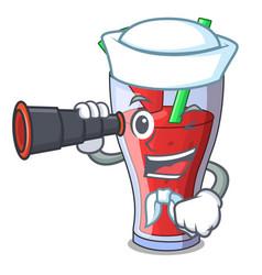 Sailor with binocular watermelon juice with vector